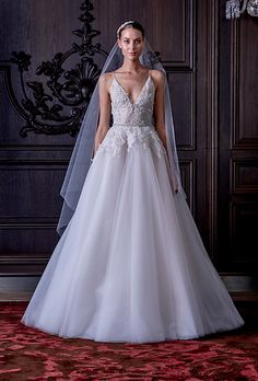 "Monique Lhuillier - Spring 2016. ""Ella"" tulle A-line wedding dress with floral overlay, Monique Lhuillier"