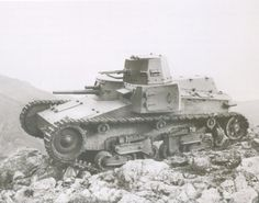 The prototype of the Italian 10-ton tank model 1937. The tower is visible coaxial 6.5-mm machine gun Scotty.