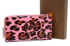 Michael Kors Mirror Metallic Circle Logo Leopard Purses Pink