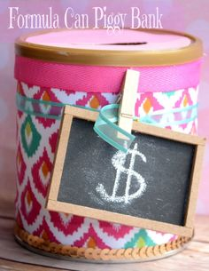 Diy Piggy Bank Ideas Lovely formula Can Piggy Bank From It Happens In A Blink Recycled Crafts Kids, Fun Crafts, Diy And Crafts, Crafts For Kids, Folgers Coffee Container, Baby Piggy Banks, Baby Formula Cans, Coffee Can Crafts, Diy Recycle