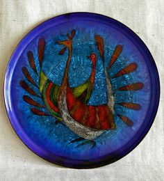 Large Round Enamel on Copper Plate   by Miguel by ModernMexican.