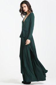 Dark Green Faille Multiway Long Sleeve Perfect Split Infinity Maxi Dress -SheIn(Sheinside)