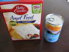 Only 2 ingredients are needed for this delicious cake... a box of Angel Food cake and a 15 ounce can of undrained diced peaches....