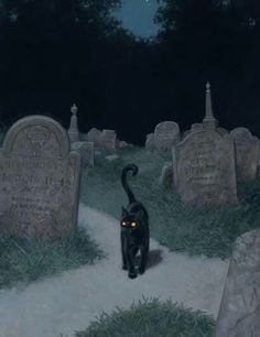 Black cat at a cemetery crossroad. I'… Black cat at a cemetery crossroad. I'm just saying that lots of beings would be quite at home as a black cat. (Art by Tristan Elwell) Halloween Pictures, Halloween Art, Spooky Pictures, Vintage Halloween Cards, Happy Halloween, Witch Aesthetic, Aesthetic Art, Black Cat Aesthetic, Arte Obscura