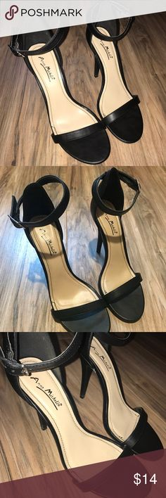 Black Heels/ Sandals. 8.5 Simple black strappy heels that go with anything! Only worn twice. In perfect condition! Ann Michell Shoes Heels