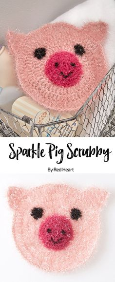 Sparkle Pig Scrubby free crochet pattern in Scrubby Sparkle yarn.