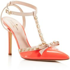 kate spade new york Lydia Embellished T Strap Pumps ($425) ❤ liked on Polyvore featuring shoes, pumps, heels, t-bar shoes, kate spade pumps, embellished pumps, t strap pumps and decorating shoes