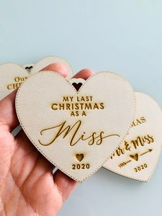 """""""My Last Christmas as a Miss"""" ornament to add to your Christmas Tree or to hang on your door.It's engraved and cut in a laser-cut machine, and the processing time is 48/72h to ship. #christmasornaments #lastchristmasasamiss #christmasdecor"""