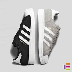 Black and light grey Adidas Superstar Suede Sneakers. Adidas Shoes Women, Nike Women, Adidas Sneakers, Shoes Sneakers, Women's Shoes, Adidas Zx, Shoes Style, Black Shoes, Cute Shoes