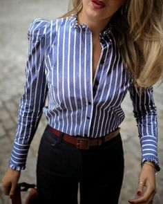 Striped Puffed Sleeve Frill Hem Casual Blouse - Look style Office Outfits, Mode Outfits, Fashion Outfits, Office Attire, Punk Fashion, Lolita Fashion, Stylish Outfits, Trend Fashion, Mode Vintage