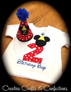 Mickey Mouse Clubhouse Inspired Birthday Number T-Shirt- Boys, Girls, Toddlers- Personalized with Name and Your Choice of Colors and Fabric on Etsy, $25.00