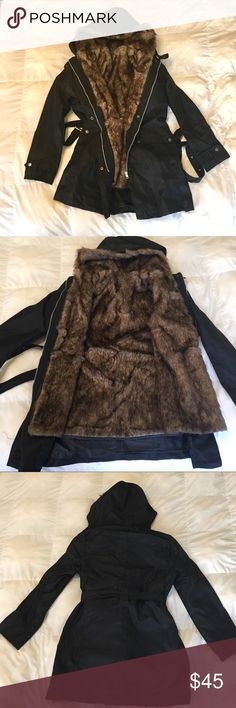 NWT ☃️Fur Lined Black Hooded Parka ⛄️❄️🌨 This is a super cute NWT, never worn, coat with a removable faux fur liner. It was bought from Lulugal but not able to be returned in time. It is so cute but the size runs small, I think it would be closer to a US size Large rather than XL. You get it brand new for cheaper than Lulu And you don't have to wait 6 weeks for it to ship from China like I did! Jackets & Coats Pea Coats