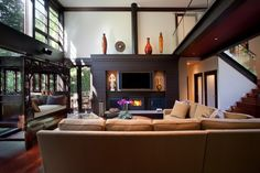 asian living room by Lankford Design Group love the reading nook