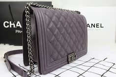 Chanel Large Le Boy Flap Shoulder Bag A92106 1:1 in Grey Purple Import Original Calfskin Leather with Silver hardware KY