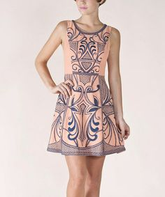 Take a look at this Light Salmon Paisley A-Line Sleeveless Dress by Champagne & Strawberry on #zulily today!
