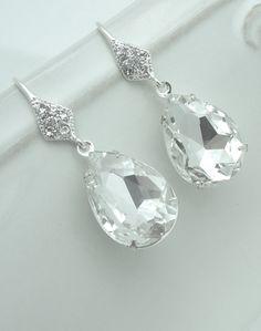 Crystal Bridal Earrings Crystal Teardrop by AnaInspirations, $22.00