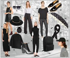 1. Zara dress $49.90 | 2. Rayban sunglasses $115 | 3. Everlane dress $98 | 4. Ted Baker London Hat $85  | 5. MAC eyeshadows $16 | 6. She in sweater $34.33 | 7. GAP boots $98 | 8.ZARA trousers $69.90 | 9. COS pants $198 | 10. French Connection top $58 | 11. French Connection trousers $138 | 12. Everlane backpack $58 | 13. Everlane shoes $170 | 14. Kate Spade umbrella $48 | 15. Zara scarf $15.90 | 16. Urban Outfitters baseball cap $24