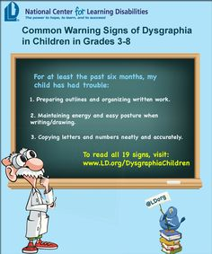 Common Warning Signs of Dysgraphia in Children in Grades 3-8.