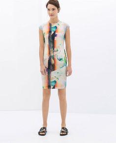 T-geometric Shape Print Sleeveless Dress [2978] – Obuzu