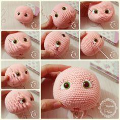 Maquillaje de la pestaña de la muñeca Amigurumi