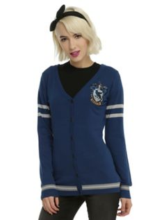 "<p>""Wit beyond measure is man's greatest treasure."" - Rowena Ravenclaw</p>  <p>As you're walking through the halls at school, pretend you're a student at Hogwarts while wearing this cardigan from <i>Harry Potter</i>. It's dark blue with an embroidered Ravenclaw house crest, grey stripes and front botton-up closure. Intelligence, wit and creativity... yeah, you belong in Ravenclaw.  </p>  <ul>  ..."