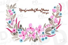 Check out Hand Painted Floral Wreath Clip Art by pdeasyprint on Creative Market