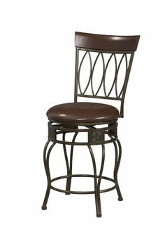 """Linon Four Oval Back Bar Stool 30 by Linon. $112.88. Wipe clean Brown PVC Vinyl seat cover. Matte Bronze finish. The cushion is piled high for extra comfort. 30"""" seat height. Crafted of metal and highlighted with subtle curves. The elegance and unique style of this 30"""" Four Oval Back Bar Stool will carry throughout your kitchen, dining, or home pub area.  Crafted of metal and highlighted with subtle curves and a distinctive Four Oval back, this stool is a positively ..."""