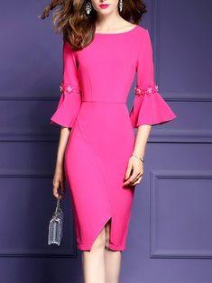 Rose Bateau/boat Neck Elegant Solid Asymmetric Midi Dress