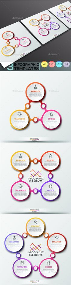 Modern Infographic Connection Templates (3 Items) PSD, Vector EPS, AI
