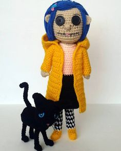 A[mi]dorable Crochet Coraline (and cat) crochet doll FREE pattern