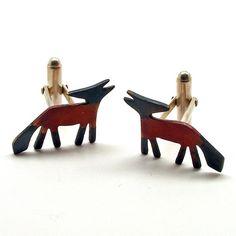 Becky Crow  Fox Cufflinks [silver and copper]  Cyfflincs Llwynog [arian a copr]  £68