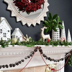 Regram from @jenna_burger So inspired by Jenna's mantle! I love the tiny-pinecone garland and anytime you can use magnolia leaves it's a win. Jenna is always thoughtful in her decorating and her crisp whites just pop against the deep grey of her wall. The berry wreath in the center of the mirror is simply gorgeous. #BHGTakeover #HolidayWeekend