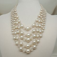Vintage Japanese Faux Pearl and Crystal 1950s by DesignsbyAlladania, $25.00