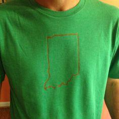 Indiana outline T-shirt I made for Matt. Freezer paper stencil and Martha Stewart craft paint.