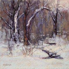 Winter Walk by Barbara Jaenicke Pastel ~ 12 x 12 Pastel Landscape, Landscape Artwork, Winter Landscape, Watercolor Landscape, Abstract Landscape, Painting Snow, Winter Painting, Winter Art, Snow Scenes