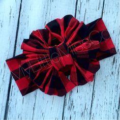 Buffalo Plaid Floppy Bow baby girl big bows by MyLittleMissCo