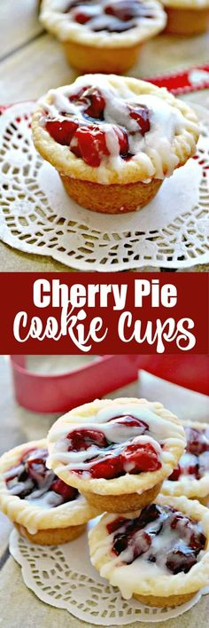 Cherry Pie Cookie Cups are the perfect answer to a cherry pie craving! Cherry Pie meets Sugar Cookie in these delicious, bite-sized Cherry Pie Cookie Cups! roll refrigerated sugar cookie c. can cherry pie c. Mini Desserts, Cherry Desserts, Cherry Recipes, Bite Size Desserts, Cookie Desserts, Easy Desserts, Cookie Recipes, Plated Desserts, Dessert Recipes