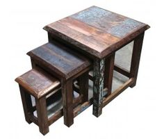 Distressed Paint Set of 3 Nesting Tables