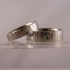 green diamond set titanium 'carve' rings