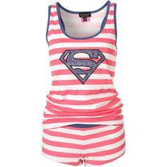 Pink Supergirl Stripe Vest And Shorts Pj Set ($32) ❤ liked on Polyvore featuring intimates, sleepwear, pajamas, pijamas, pyjamas, women, cotton pajama set, cotton pjs, cotton pajamas and striped pajamas