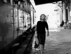 "Monica Vitti in Michelangelo Antonioni's L'Avventura. While you could say the narrative and symbolism are a little lost on my American blockbuster-addled brain, I love this example of a ""cinema of loneliness and alienation."" To me the film is a mood piece, evoking the imagery of Giorgio de Chirico, with characters wandering through deserted spaces while a sense pervades that something oppressive lurks just outside the frame."