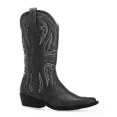 Avenue Dallas Cowboy Boot ($40) ❤ liked on Polyvore featuring shoes, boots, black, plus size, vegan cowboy boots, vegan boots, cowboy boots, mid calf heel boots and mid calf cowgirl boots