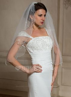 Wedding Veils - $38.00 - Two-tier Elbow Bridal Veils With Beaded Edge (006024466) http://jjshouse.com/Two-Tier-Elbow-Bridal-Veils-With-Beaded-Edge-006024466-g24466