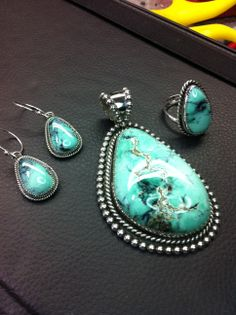 Apache Turquoise in Sterling Silver. Artist Amberlie Bandini -Argento Bello