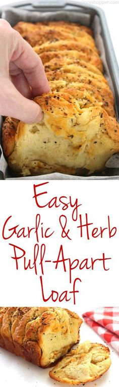 Easy Garlic and Herb Pull-Apart makes for a quick dinner side or even a snack. Since we use store bought biscuits for this loaf a few ingredients, it can be made in just a few minutes time. You are in the right place about bread recipes homemade[. I Love Food, Good Food, Yummy Food, Tasty, Delicious Meals, Fingers Food, Great Recipes, Favorite Recipes, Fast Recipes