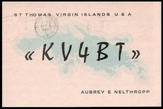 KV4BT St Thomas / Virgin Islands, USA / QSL Card / Amateur Radio Cards / Ham Radio Cards / 1959 / Postcard / 5¢ Air Mail Stamp  Note: wear on