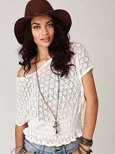hat and crochet top