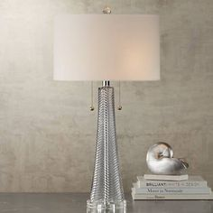 Possini Euro Miriam Gray Glass Table Lamp ~ A simple gray finish resting on a clear acrylic base serves to highlight the gorgeous design of this contemporary glass table lamp. Glass Table, A Table, Wood Table, Contemporary Table Lamps, Modern Table, Tall Table Lamps, Grey Glass, Modern Glass, Drum Shade