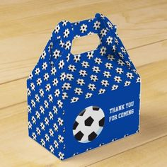 Shop Soccer Blue Party Favor Box created by Personalize it with photos & text or purchase as is! Baby Shower Thank You Gifts, Baby Shower Favors, Soccer Inspiration, Blue Party, Favor Boxes, Boy Birthday, Party Time, Card Stock, Decorative Boxes