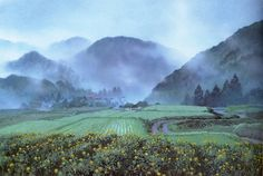 Anime picture 				2119x1423 with  		only yesterday 		studio ghibli 		kazuo oga 		highres 		scan 		official art 		landscape 		mountain 		no people 		nature 		fog 		flower (flowers) 		plant (plants) 		tree (trees) 		water 		grass 		forest 		house 		road